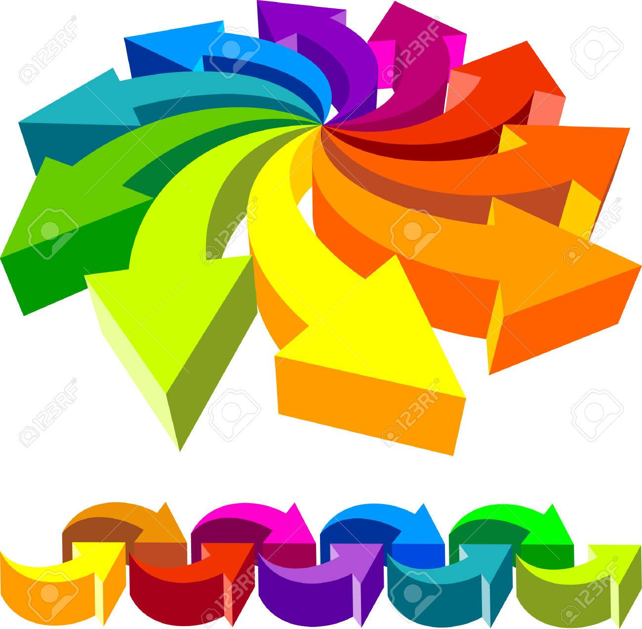 Volumetric vector colorful rotating arrows    This image is a scalable vector illustration of arrows and can be scaled to any size without loss of quality Stock Vector - 24542250