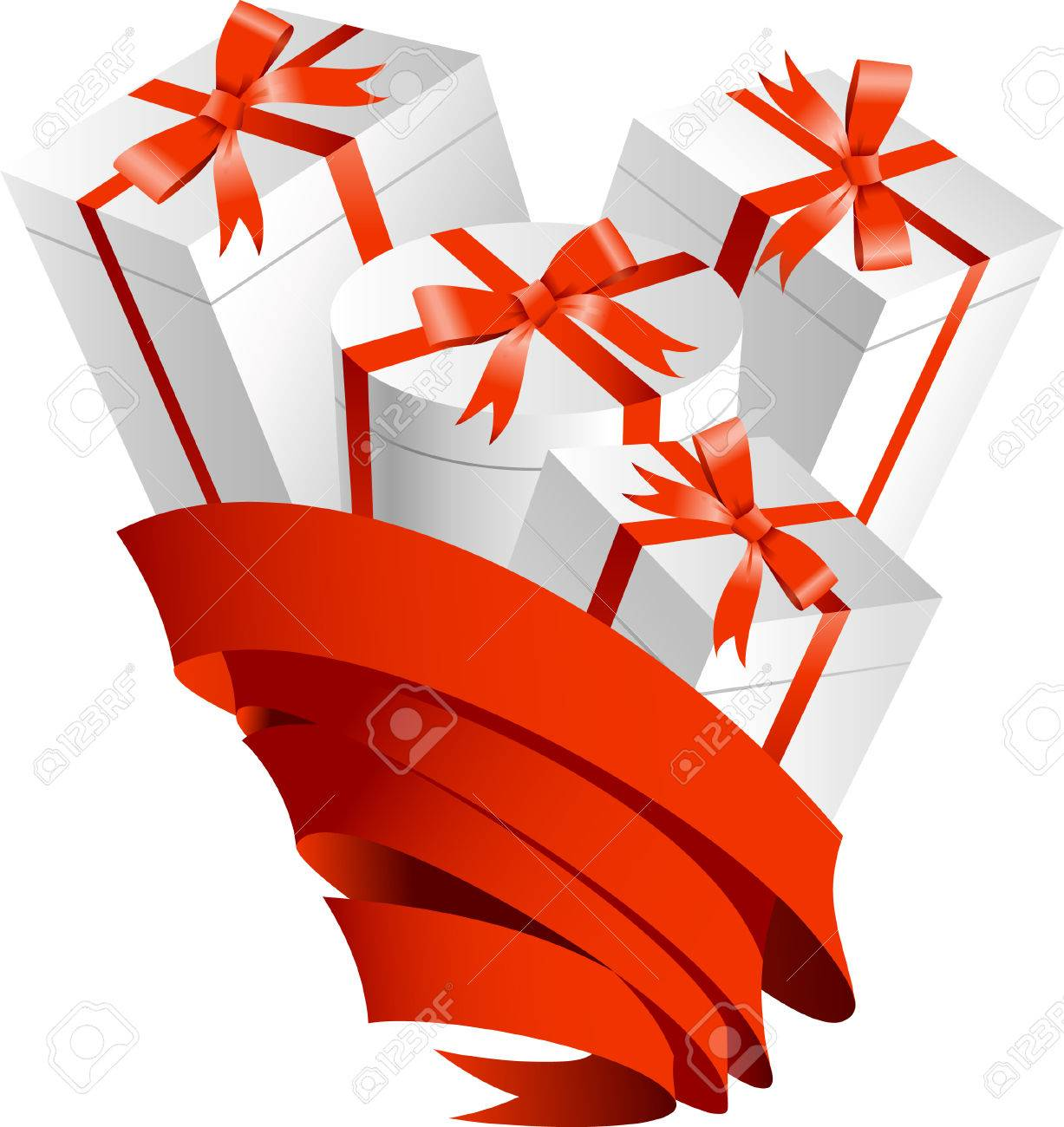 Gifts in ribbon   This image is a scalable vector illustration  of peoples and can be scaled to any size without loss of quality Stock Vector - 24542337