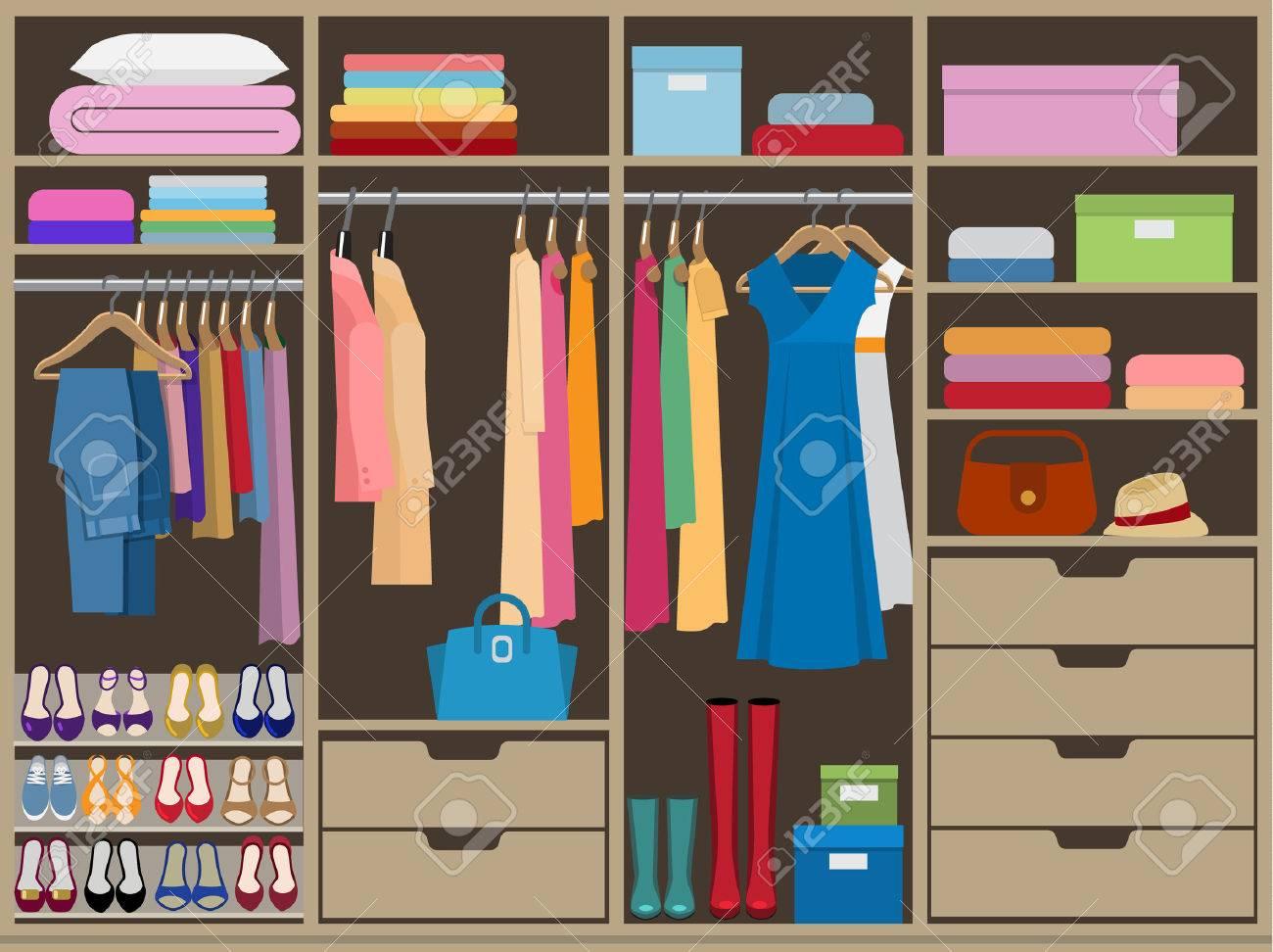 Wardrobe room full of woman's cloths. Flat style vector illustration. - 50477451