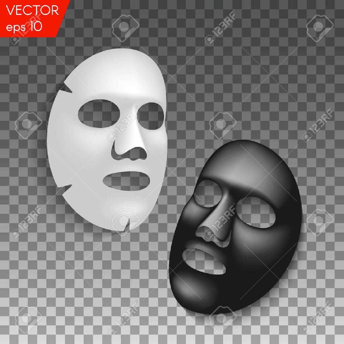Realistic black and white facial cosmetic sheet mask on transparent background - 76801343