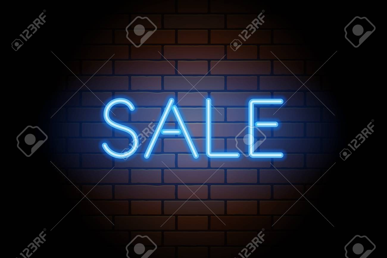 Neon Signs For Sale >> Blue Vector Neon Lights Uppercase Signs Sale Illustration Transparent