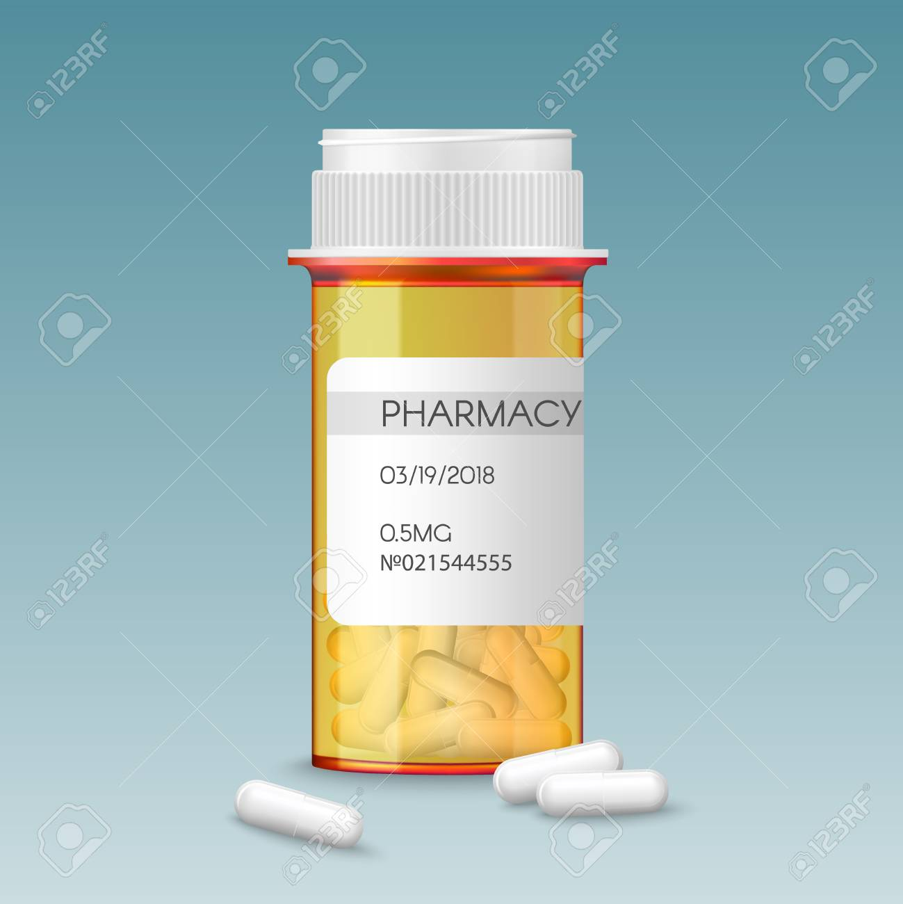 Realistic Vector Medical Orange Pills Bottle With A Blank Label