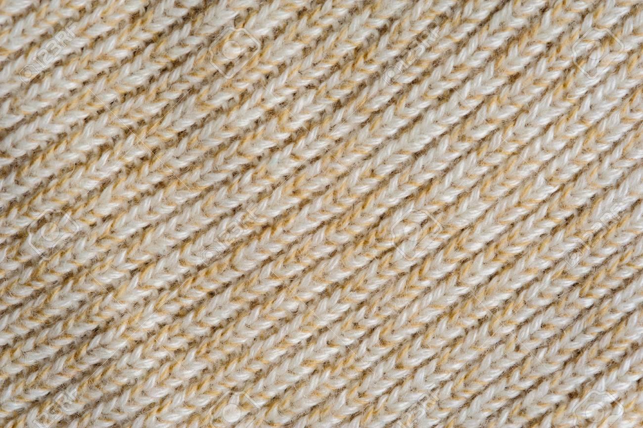 Gros Plan De Texture De Tissu En Laine Tricoté Beige Pour Le