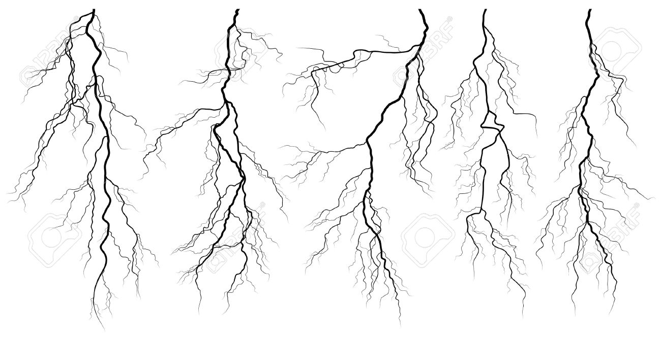 Set of silhouettes of thunderstorm lightning isolated on white Stock Vector - 15800666