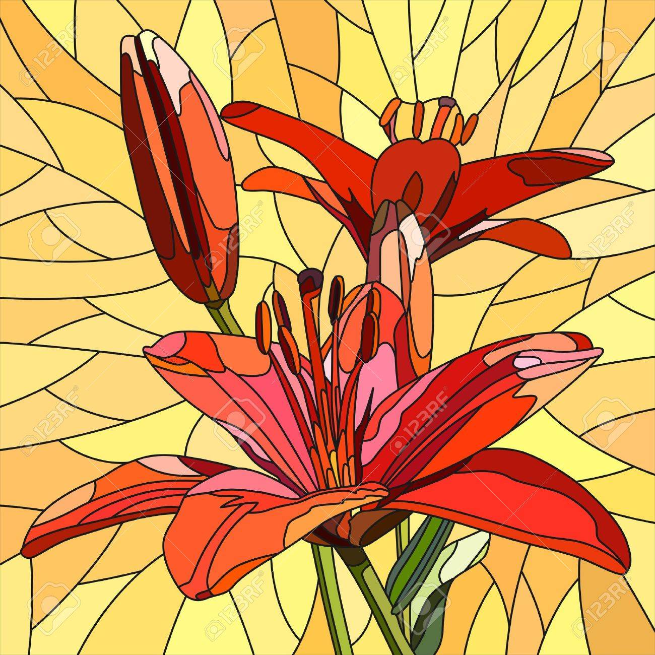 mosaic with large cells of brightly red lilies with buds on yellow. Stock Vector - 16006821