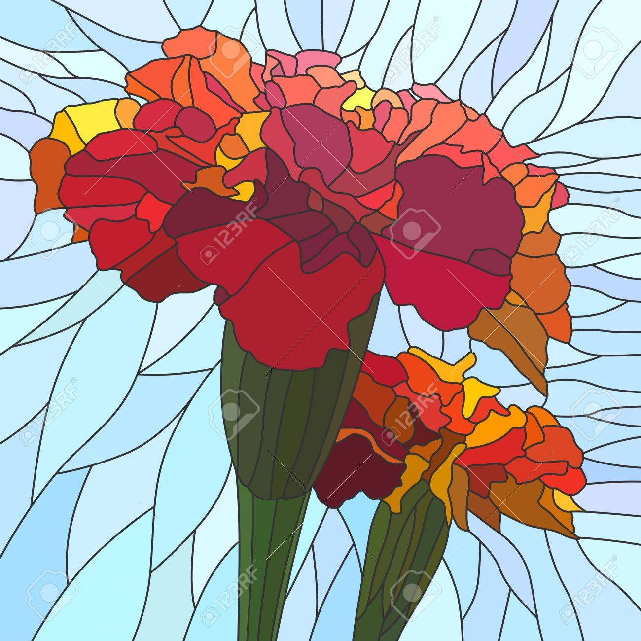 mosaic with large cells of brightly red marigold (Tagetes) on light blue. Stock Vector - 16006829
