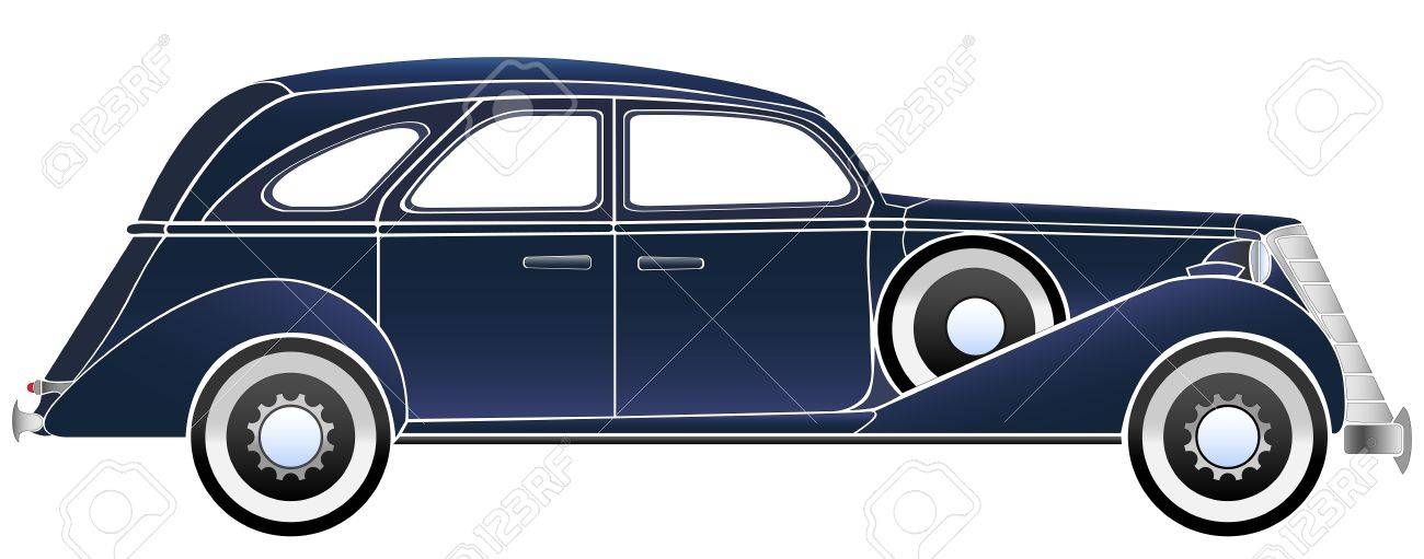 Simple Vector Illustration Of Some Old Vintage Typical Blue Car ...