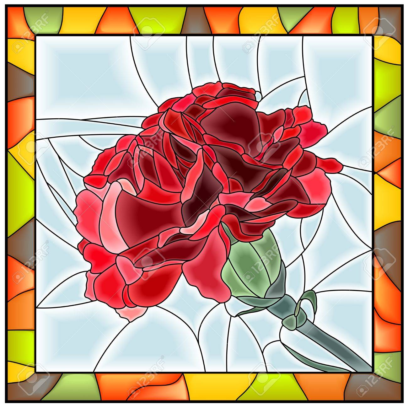 Vector Illustration Of Flower Red Carnation Stained Glass Window With Frame Stock
