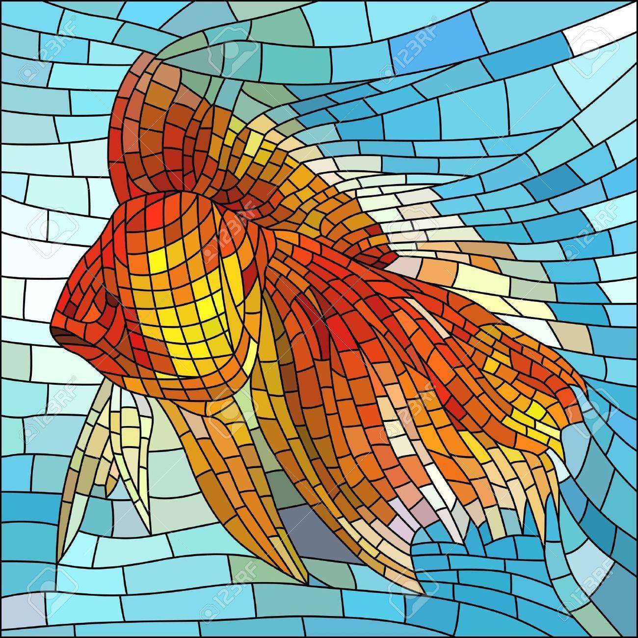 Fönster blyinfattade fönster : Vektor Illustration Av Guld Fisk I Vatten Blyinfattade Fönster ...