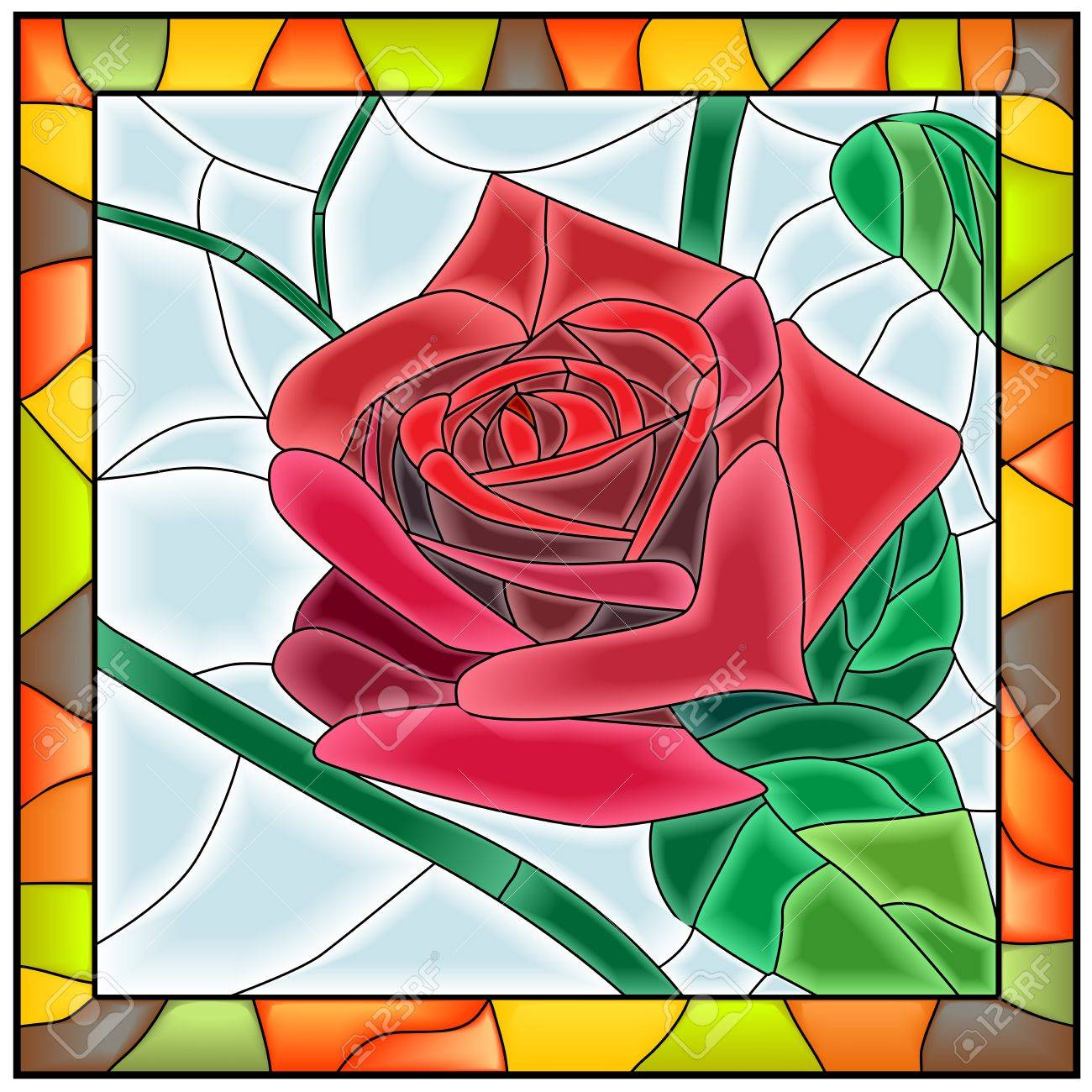 Vector Illustration Of Flower Red Rose In Stained Glass Window With Frame Stock