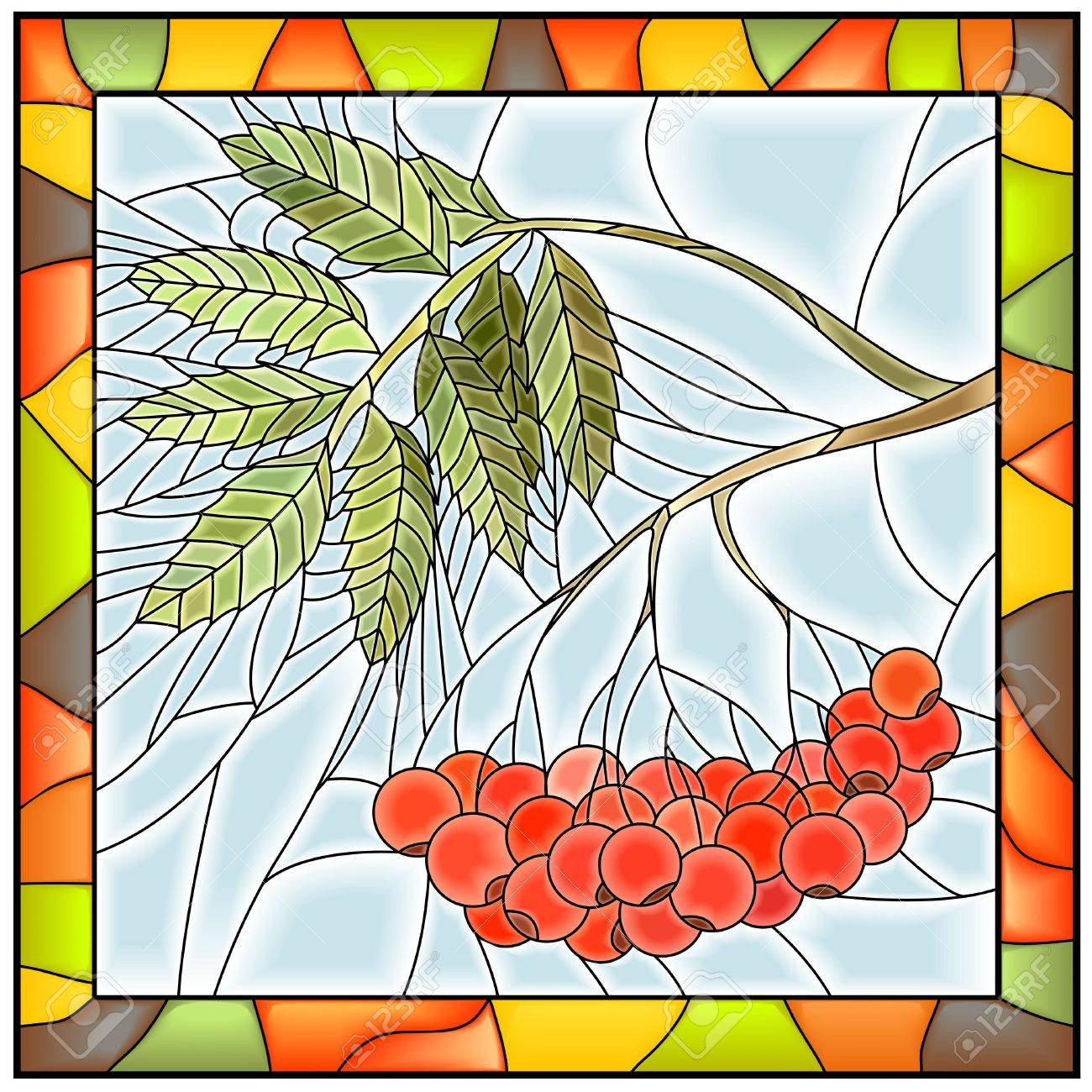 Vector Illustration Of Rowan Branch With Berries Stained Glass ...