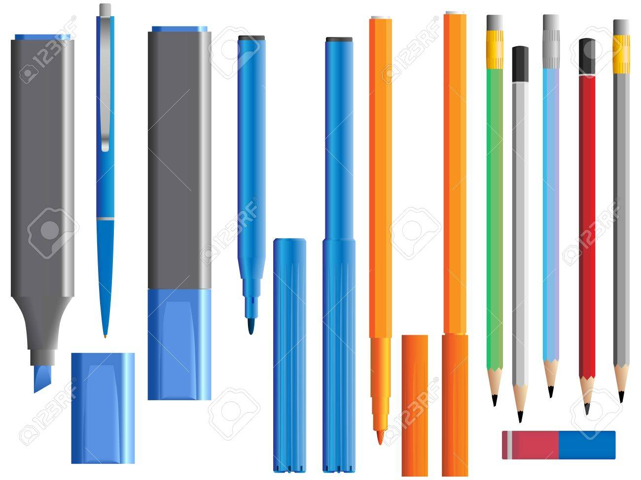 Vector illustration of set of different pencil ( and felt-tip pen). Stock Vector - 16170011