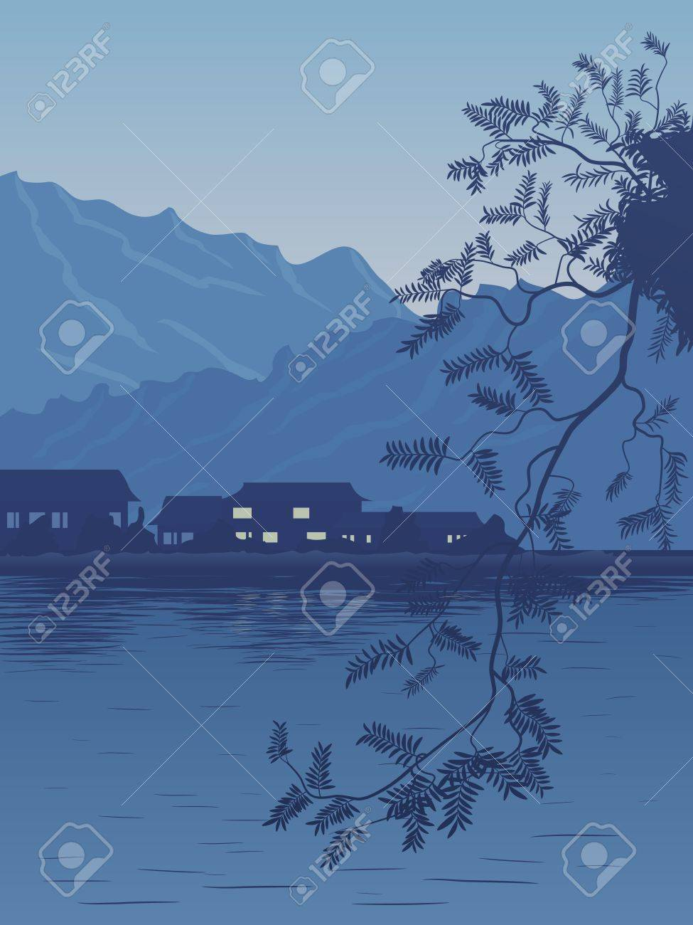 Vector illustration of village on the bank of lake in the evening in dark blue tone with the Asian motive. Stock Vector - 16170028