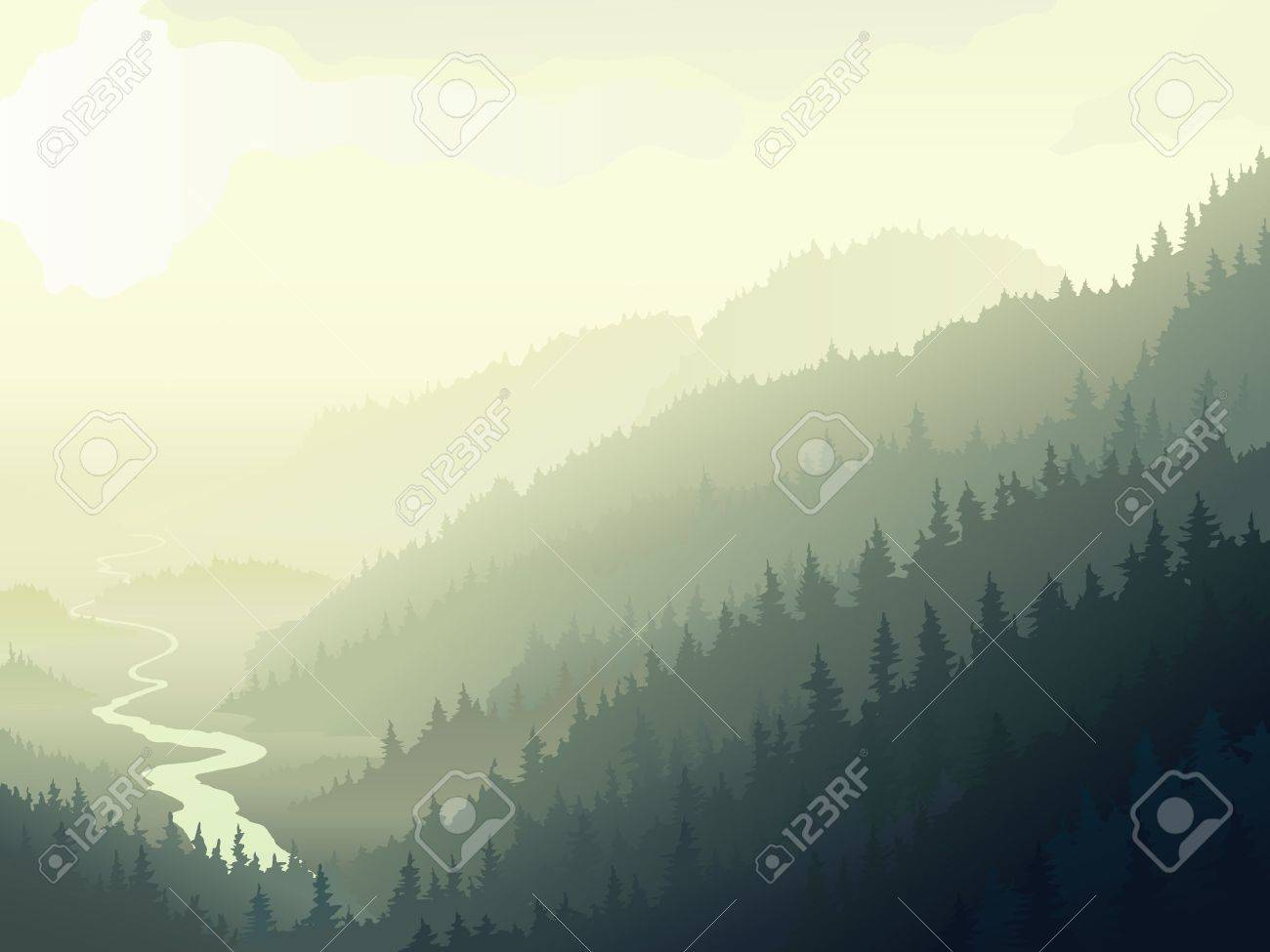 Vector illustration of wild coniferous wood with river in a morning fog. Stock Vector - 16525248