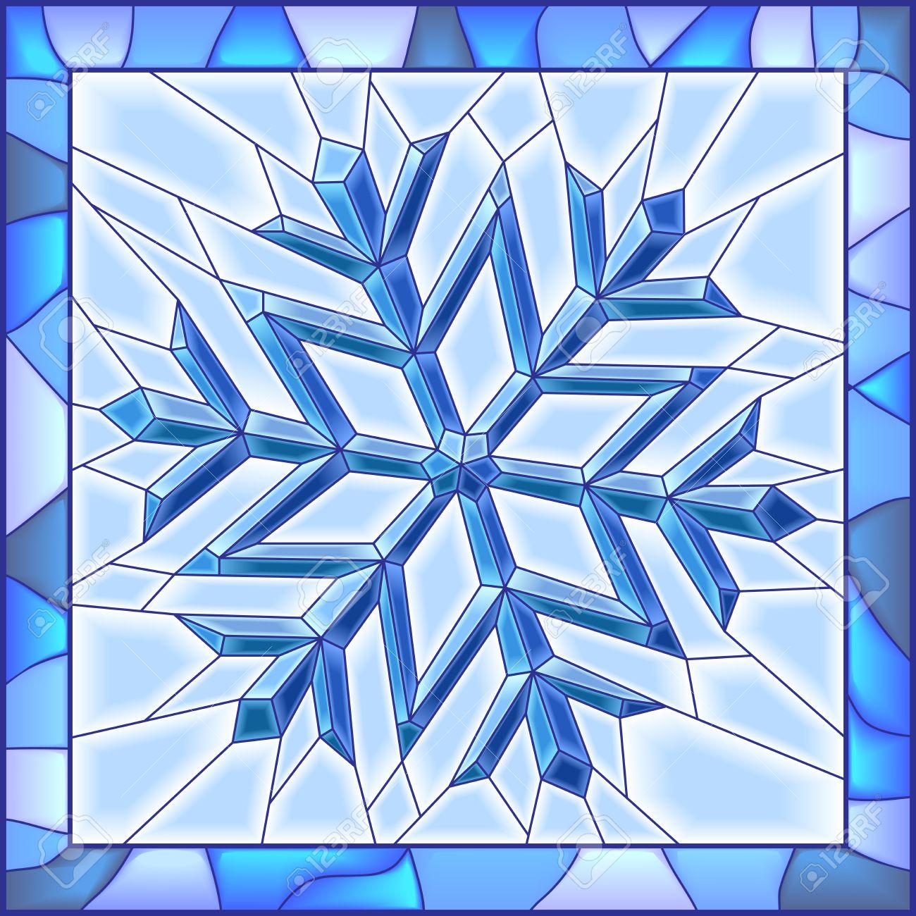 Fönster blyinfattade fönster : Vektor Illustration Av Snowflake Blyinfattade Fönster Med Ram ...