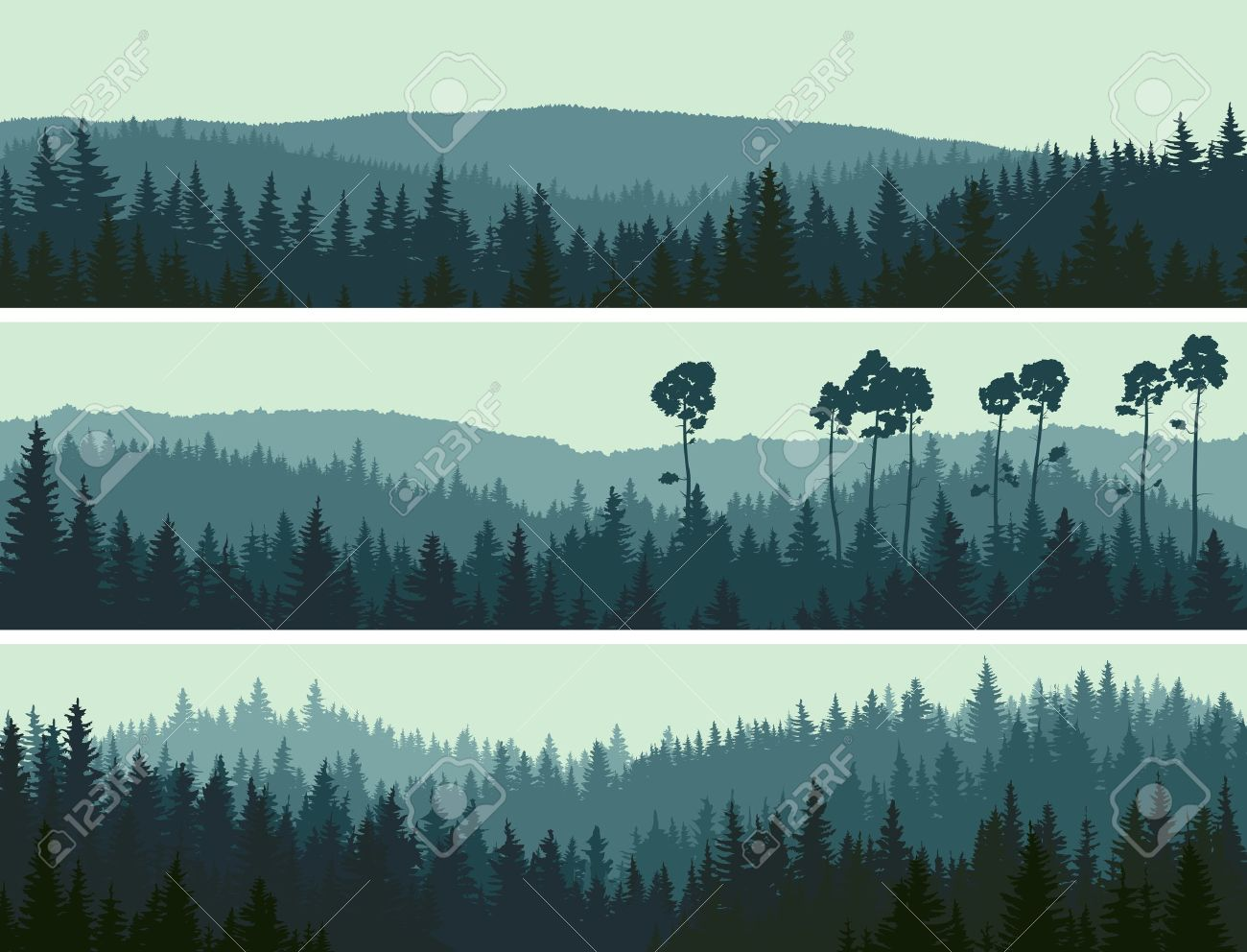Horizontal abstract banners of hills of coniferous wood in dark green tone. - 17282823