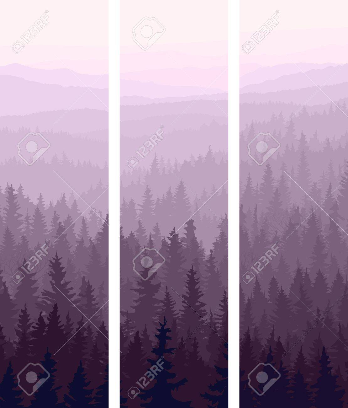 Vertical abstract banners of hills of coniferous wood in dusk. Stock Vector - 17530882