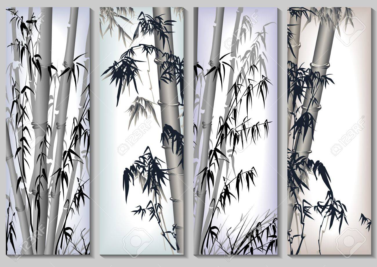 Vertical abstract banners set in asian themes with bamboo in frames. Stock Vector - 17530888