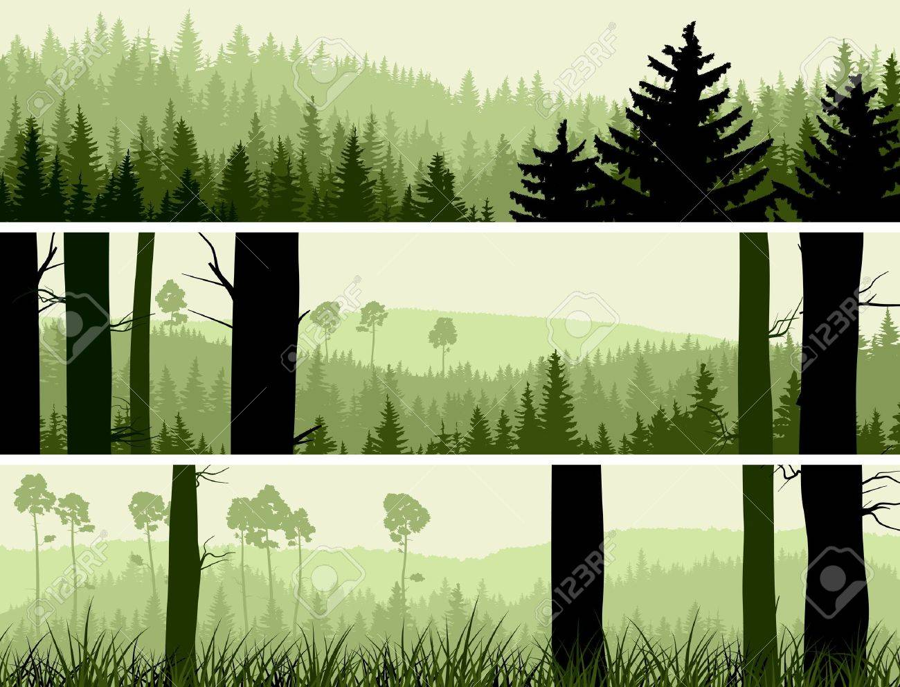 Horizontal abstract banners of hills of coniferous wood in green tone. Stock Vector - 17665612