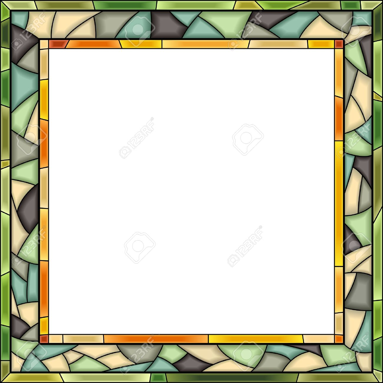 Square Green Stained-glass Window Frame For Photography. Royalty ...