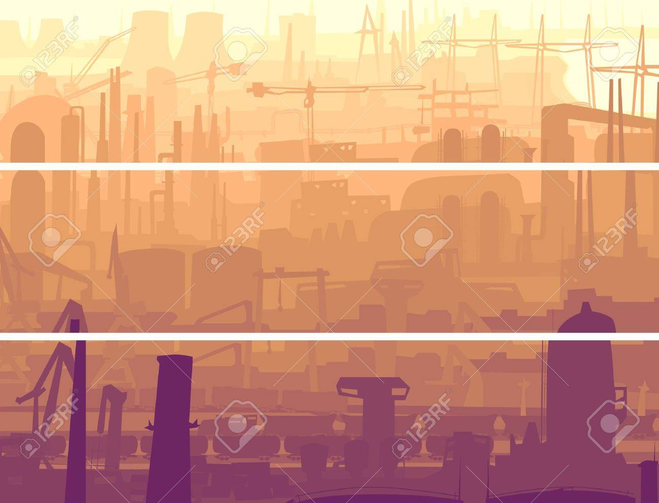 Vector abstract horizontal banner: industrial part of city with mills, factories, chimneys in the morning. Stock Vector - 17931801