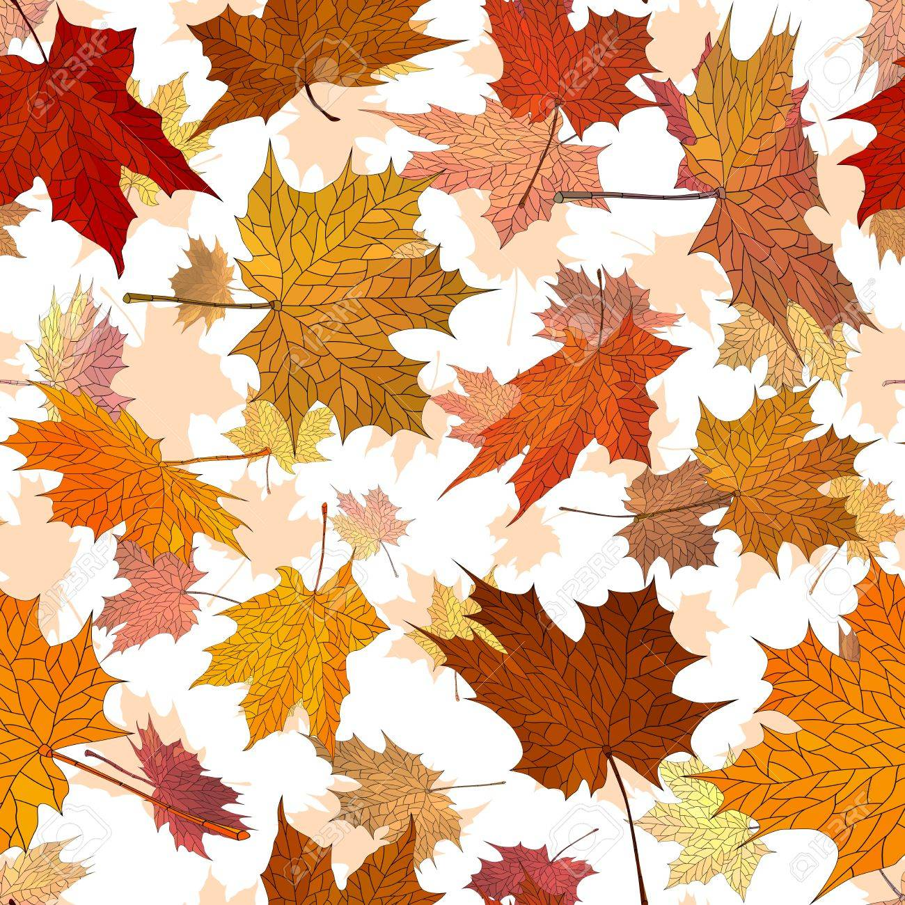 Vector seamless background: a lot of falling autumn maple leaves in air. Stock Vector - 18246499