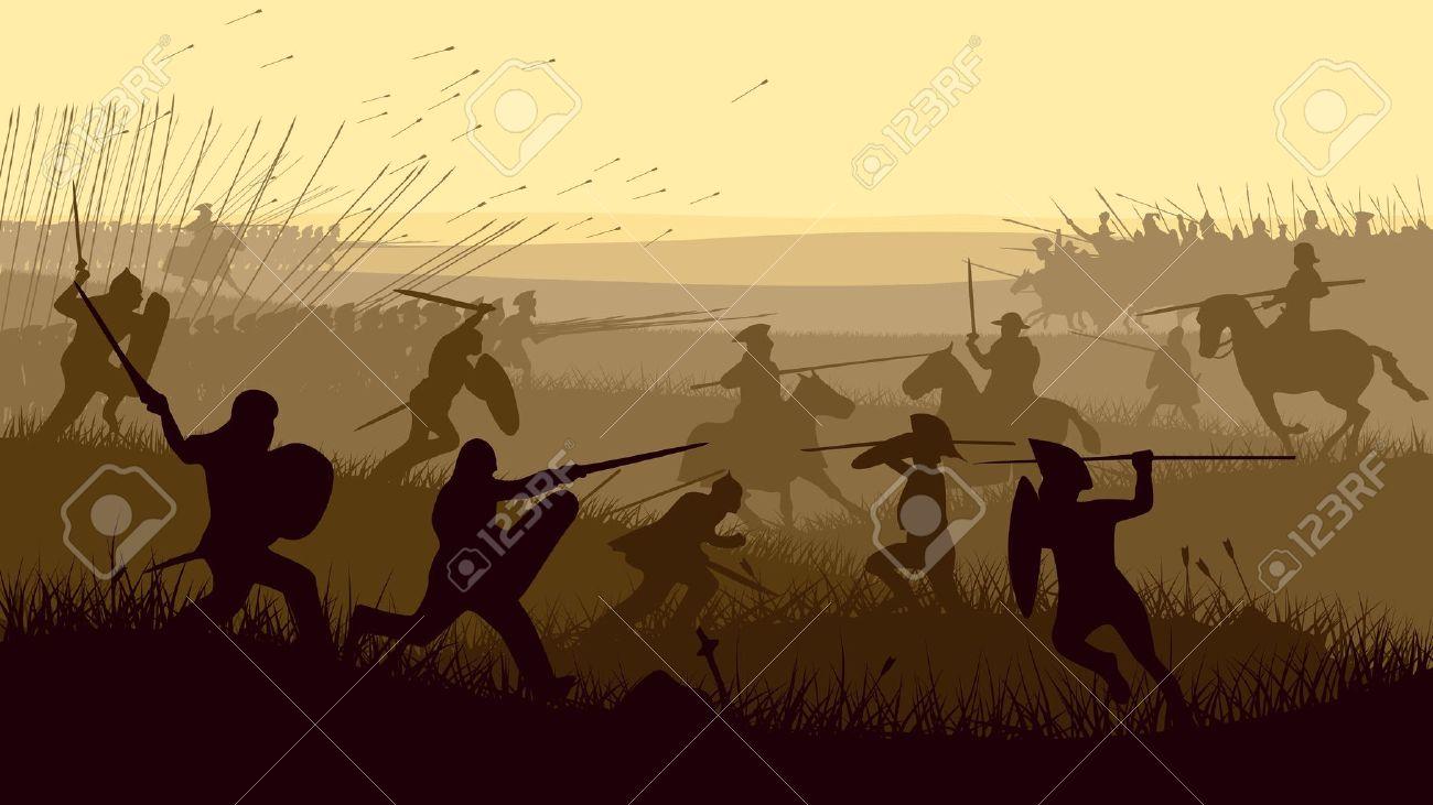 Horizontal vector illustration of battle fighting swordsmen, spearmen and cavalry in the battle field. - 19195818