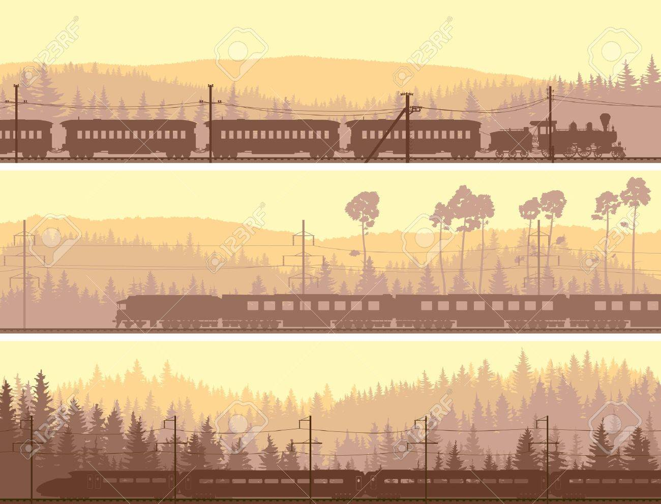 Horizontal abstract banners: locomotive and the high speed train on background hills of coniferous wood. - 19377717