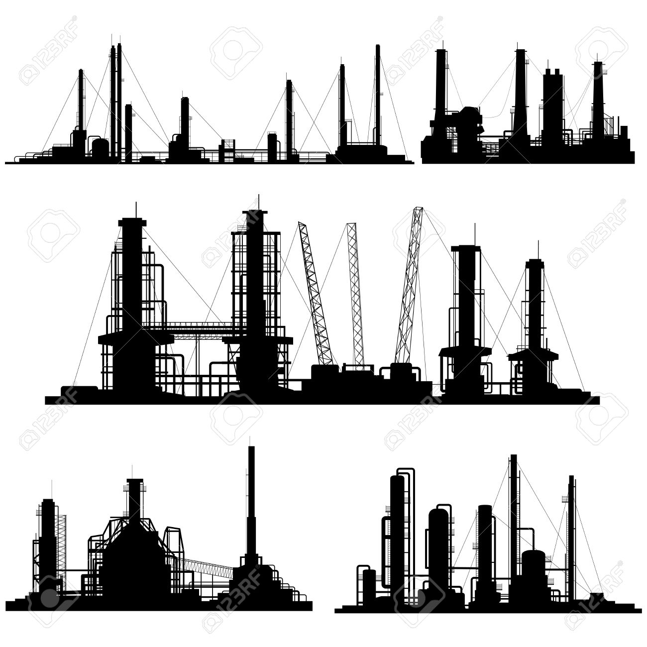Set of silhouettes of  industrial part of city (factories, refineries and power plants). Stock Vector - 19377721