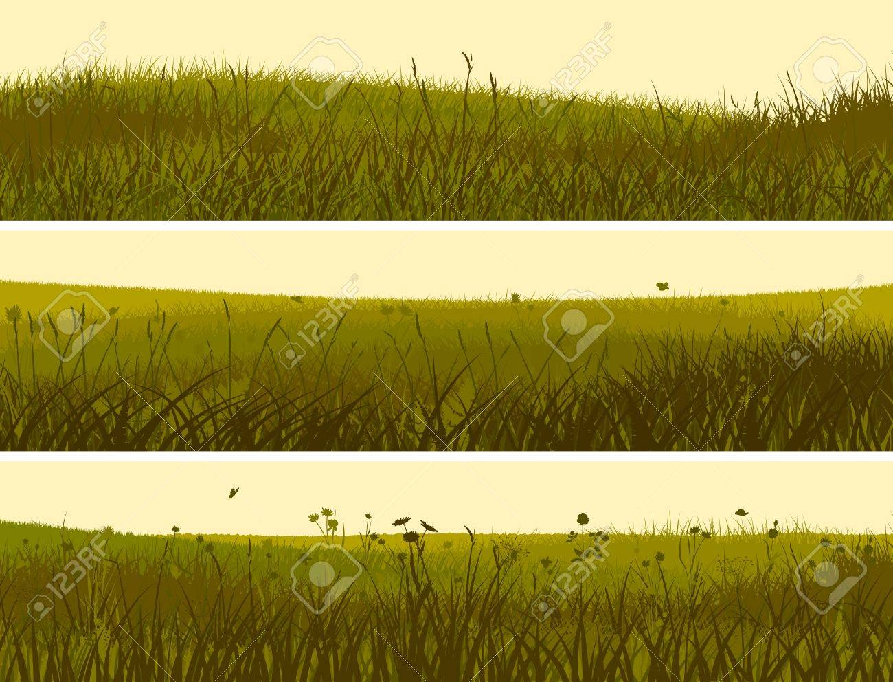horizontal banners abstract meadow grass in yellow green. Stock Photo - 20424260