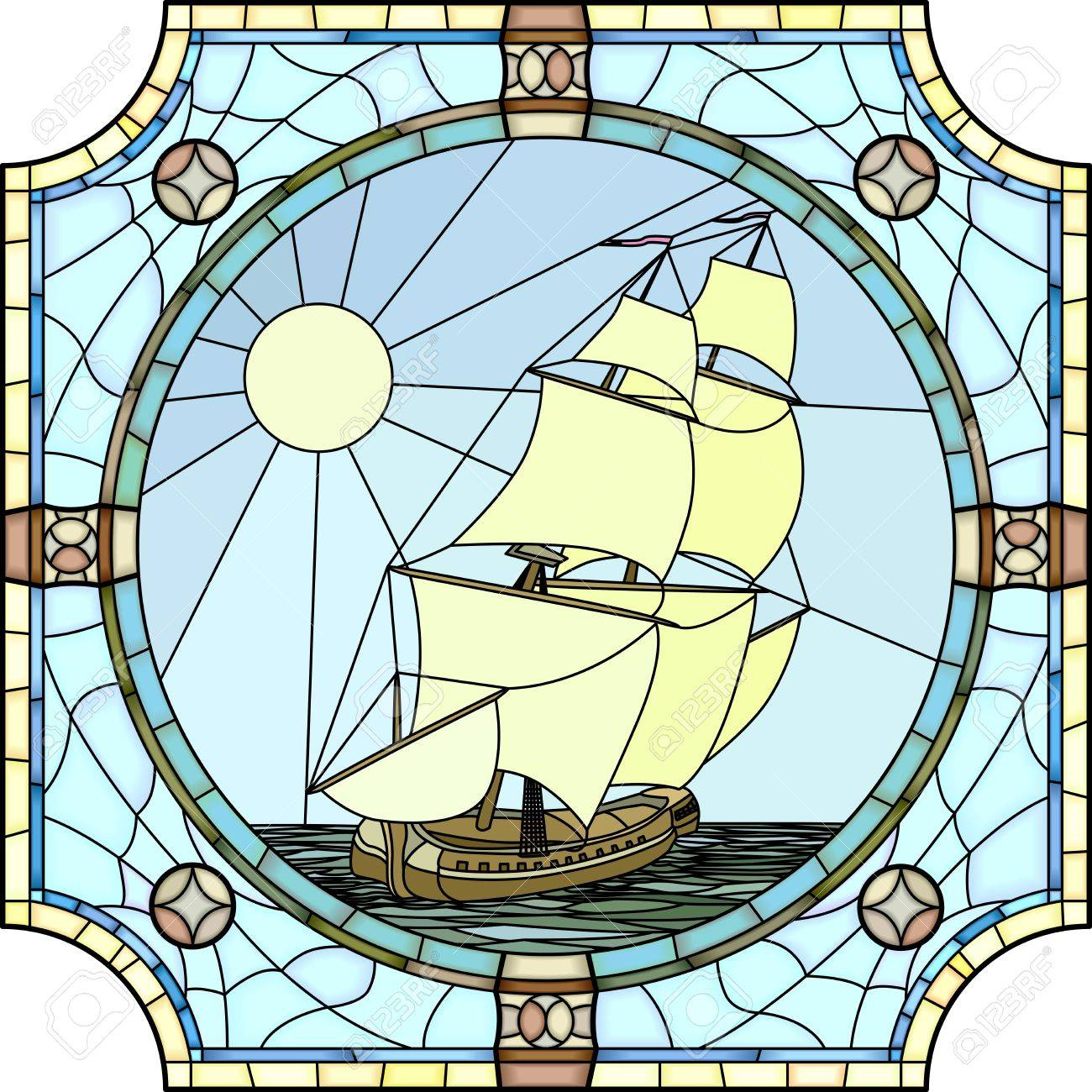 Vector mosaic with large cells of sailing ships of the 17th century in round stained-glass window frame Stock Vector - 22698191