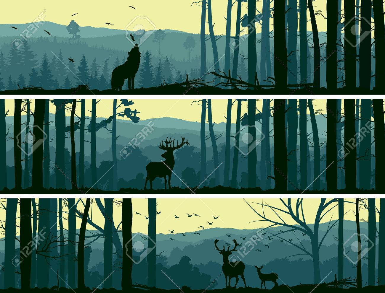 horizontal abstract banners of wild animals deer wolf in hills