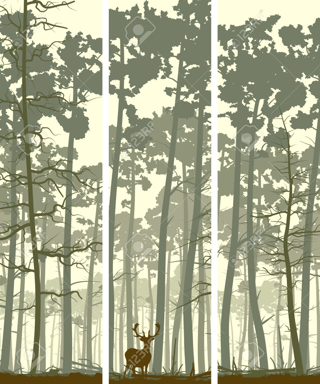 Vertical abstract banners of wild deer in forest with trunks of pine trees. - 22698203