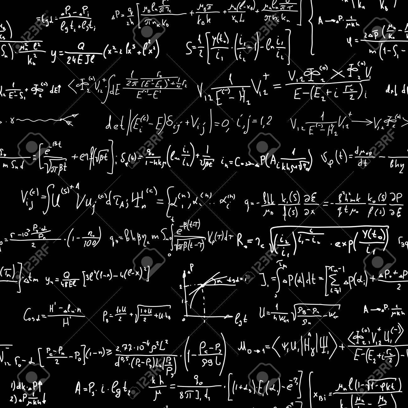 Seamless vector background of many formulas written in chalk on blackboard. Stock Vector - 22698213