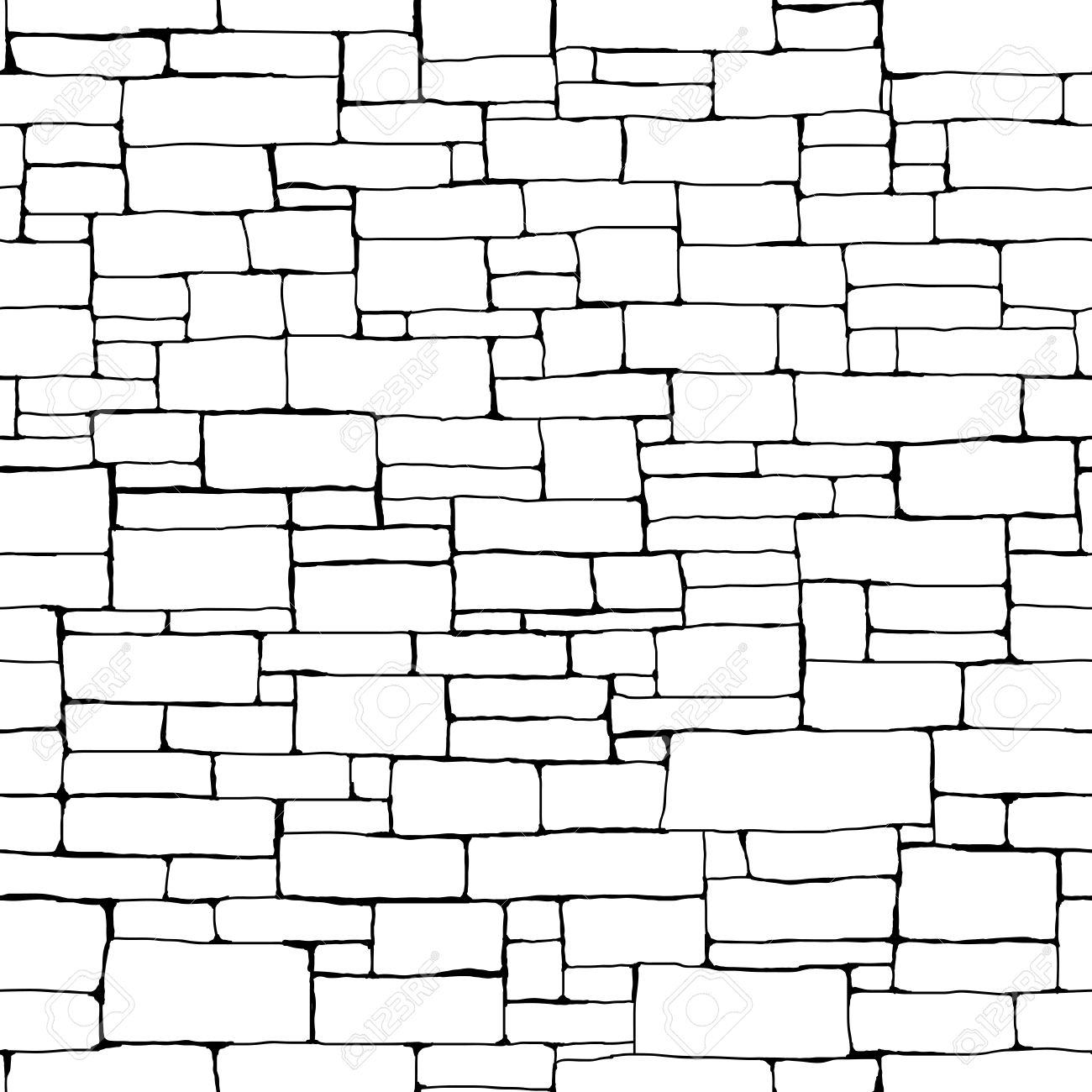 Seamless Vector Background Of Black And White Stone Wall Ancient Building With Different Sized Bricks