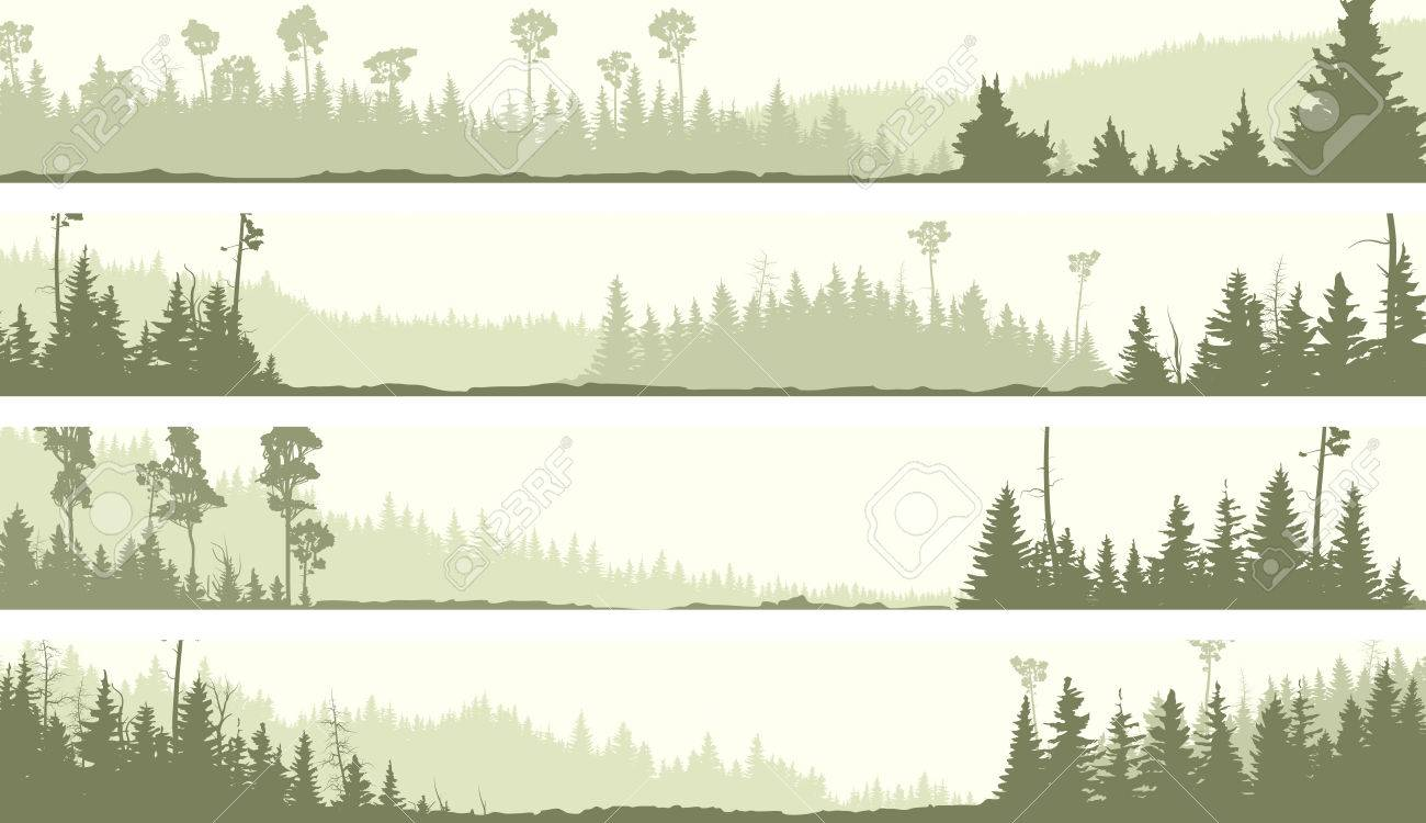 set vector horizontal banners of misty coniferous forest hills
