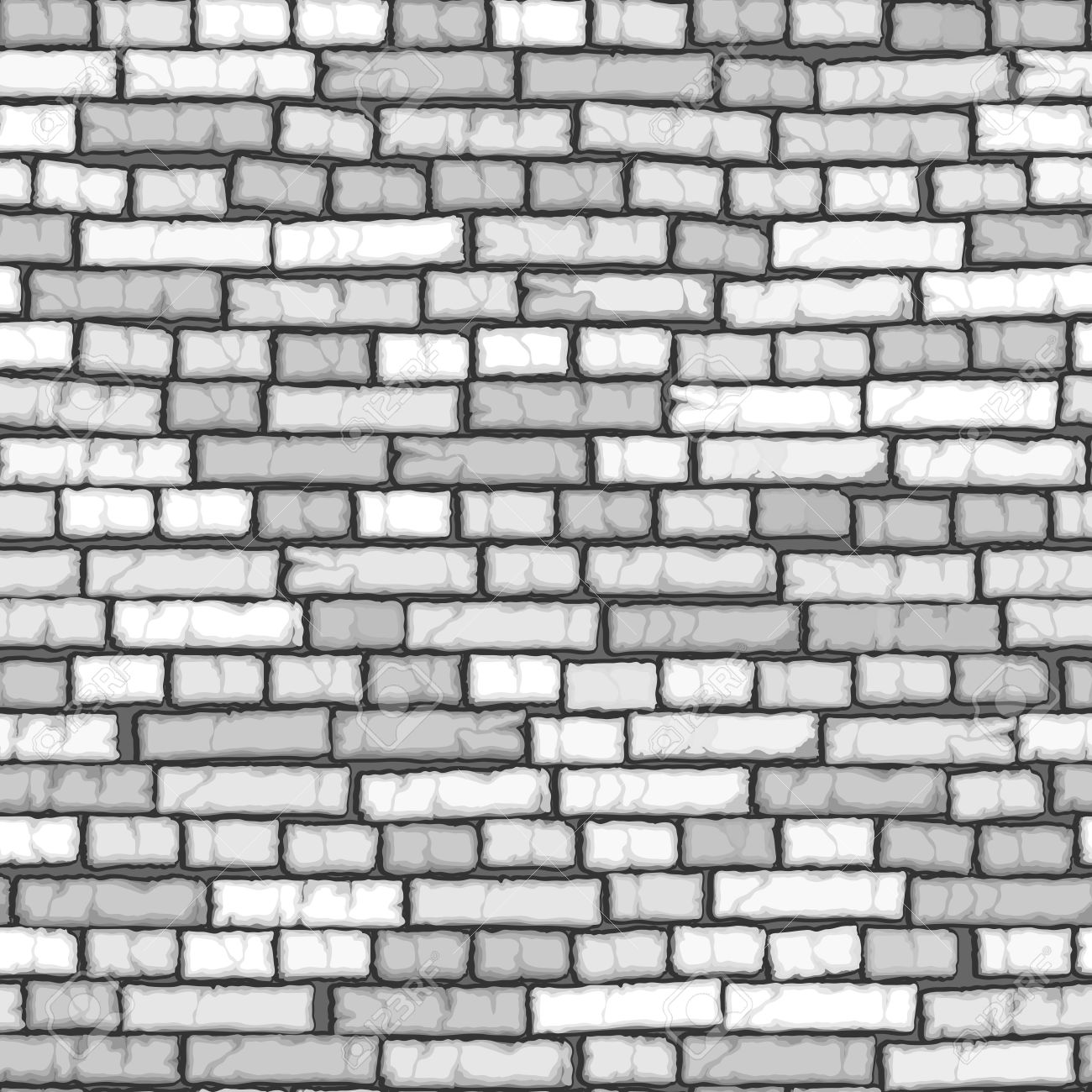 Seamless background of cartoon white old ( with crack) brick wall. - 52236409