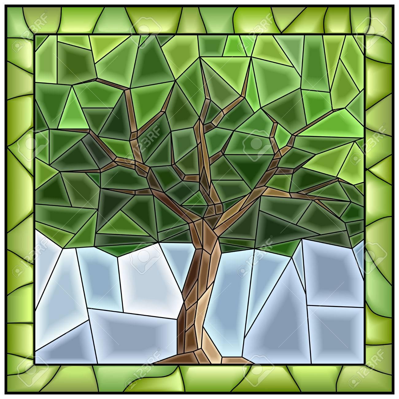 Vector Ilustración De La Vidriera Con Marco De árbol. Ilustraciones ...