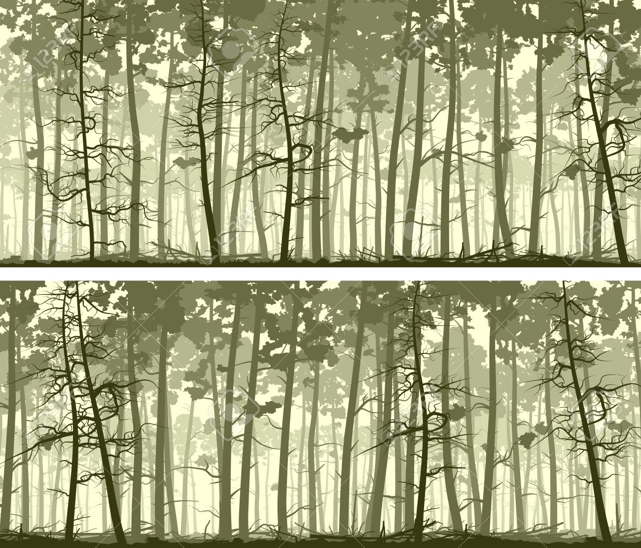 set of horizontal abstract wide banners forest with trunks of