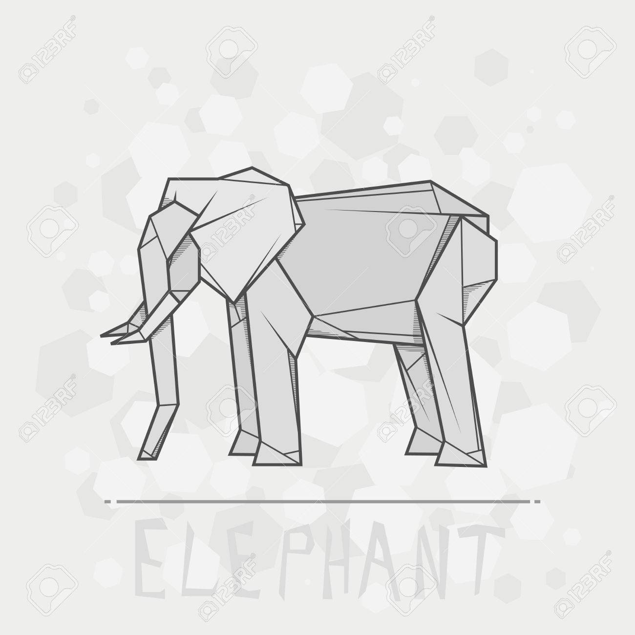 Simple Illustration Paper Origami Of Elephant Stock Vector
