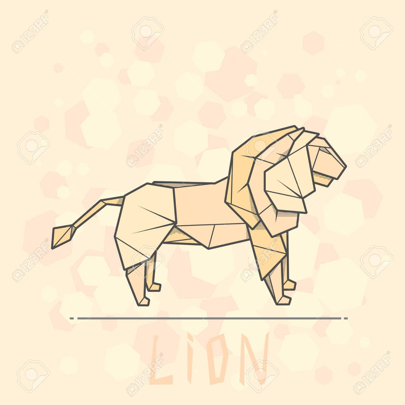 Simple Illustration Paper Origami Of Lion Stock Vector
