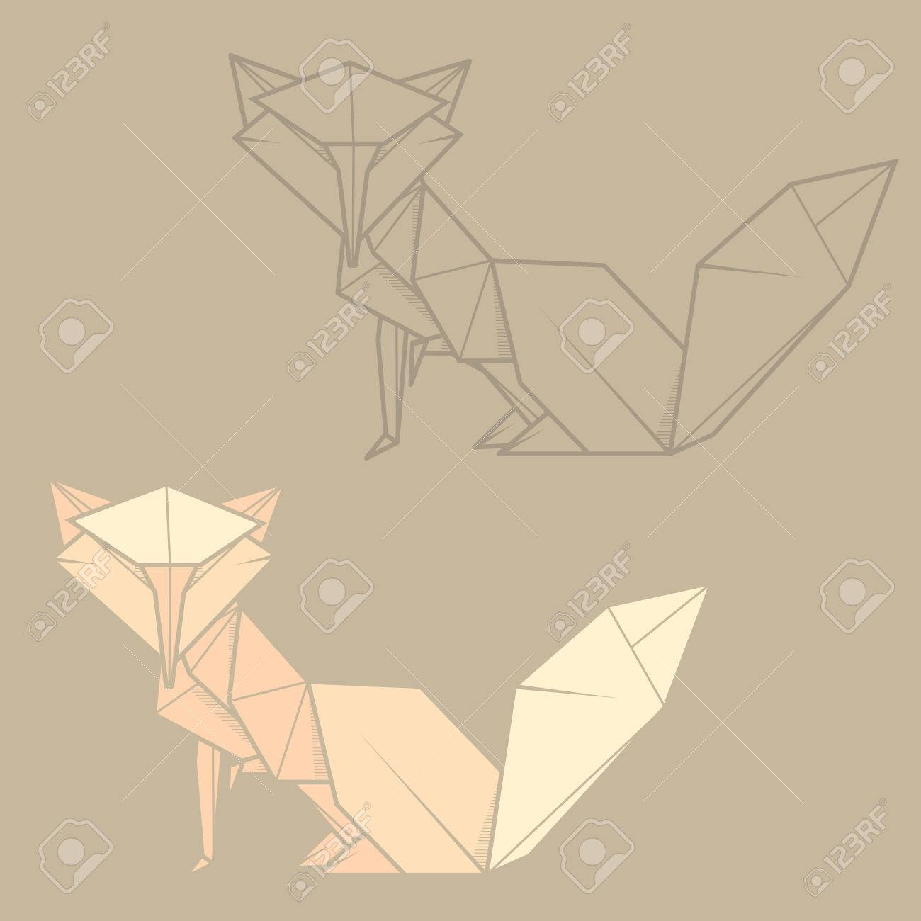 Set Vector Simple Illustration Paper Origami And Contour Drawing Of Fox Stock
