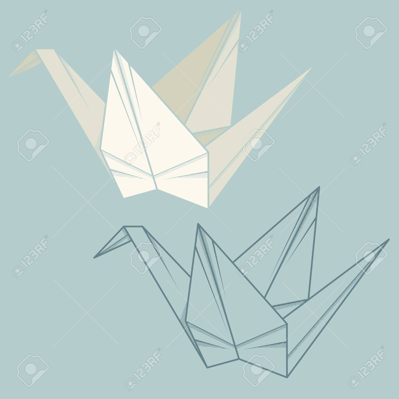 Set Of Simple Illustration Of Paper Crane Origami Royalty Free