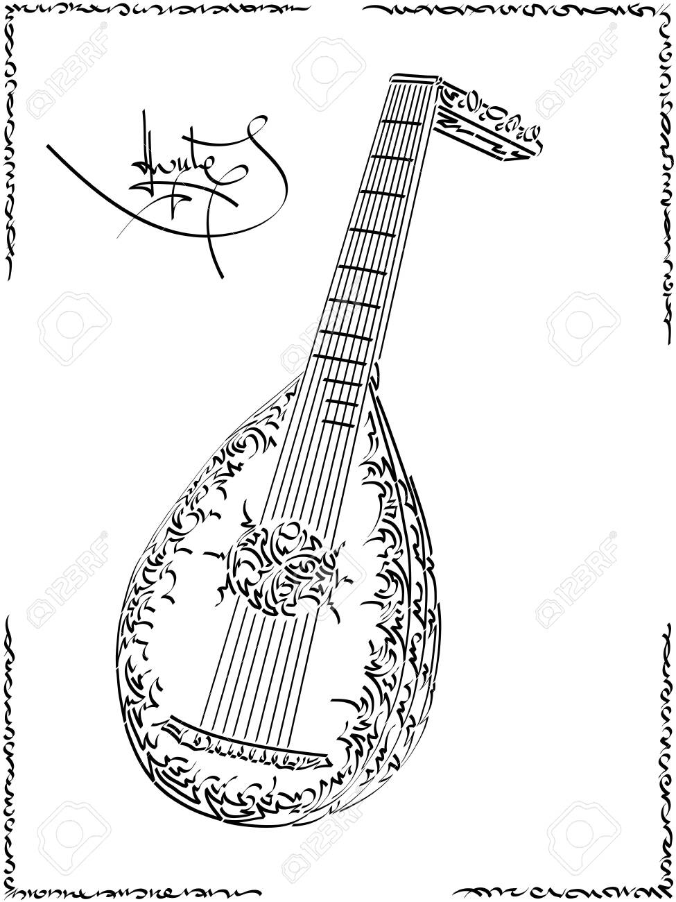 Black and white illustration of stylized (by flat brush stroke) graphic arts sketch of drawing lute. - 124330673