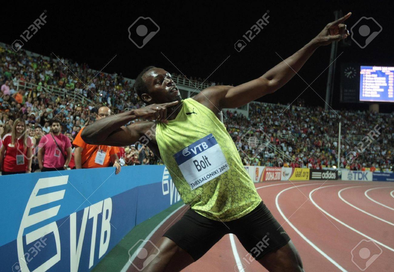 THESSALONIKI, GREECE - SEPTEMBER 12,2009: Usain Bolt finishes first at 100m men for the IAAF World Athletics Finals main event at Kaftatzoglio Stadium  Stock Photo - 16020111