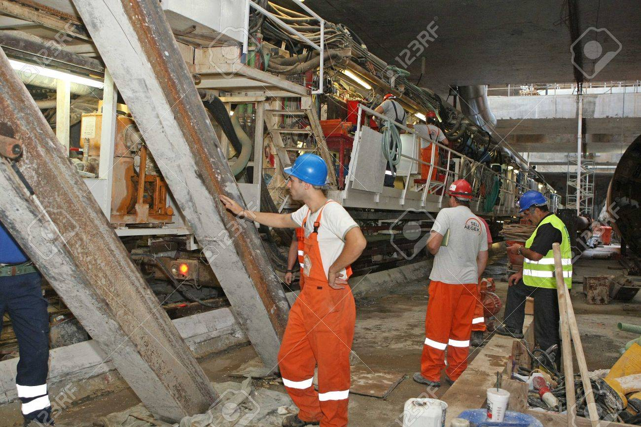 THESSALONIKI, GREECE - AUG 2, 2010: Works for the construction of metro in the center of town  Stock Photo - 16285641