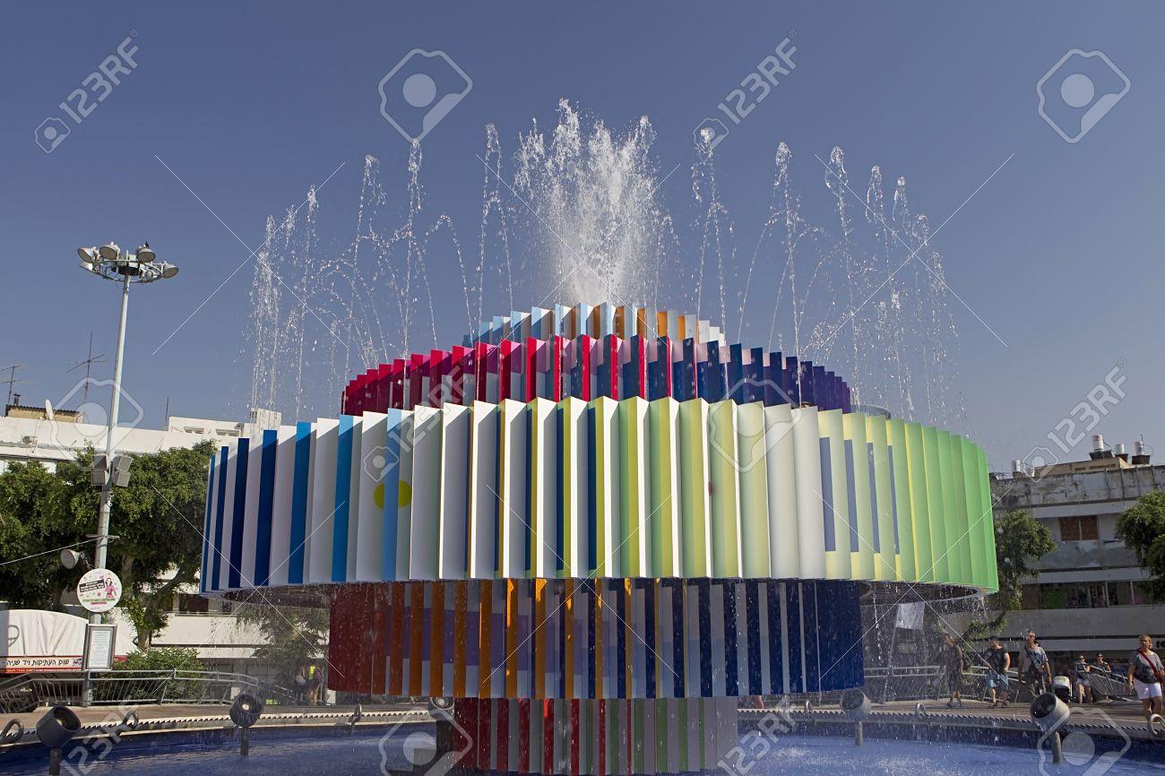 A modern fountain in dizengoff center in Tel Aviv Israel Stock Photo - 16585563