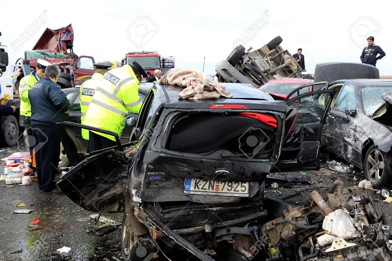 THESSALONIKI,GREECE - JAN,22: 28 vehicle pile-up on the Egnatia