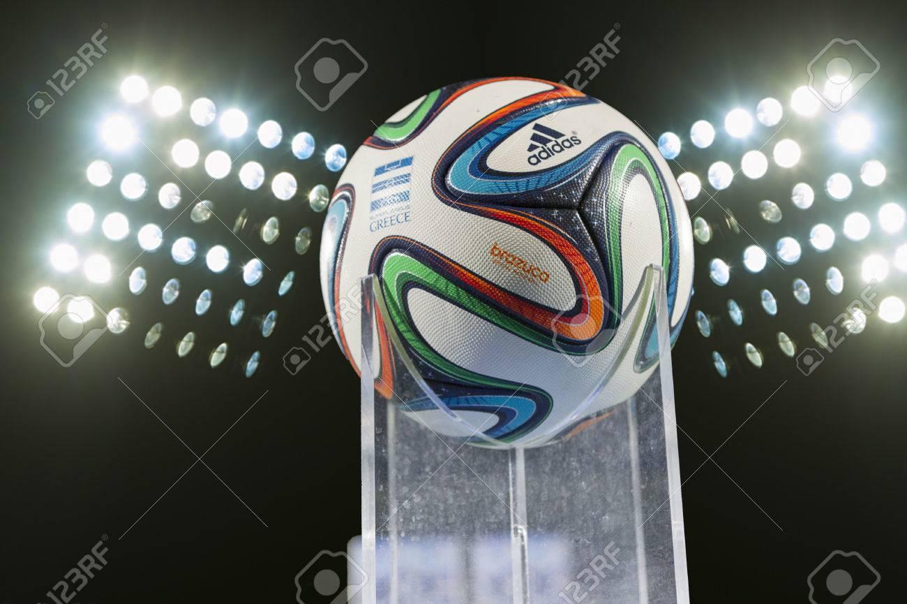 THESSALONIKI, GREECE - Jan 5 : Greek Superleague Brazuca (Mundial) ball against the stadium lights on January 5, 2014 in Thessaloniki, Greece. Standard-Bild - 24978918