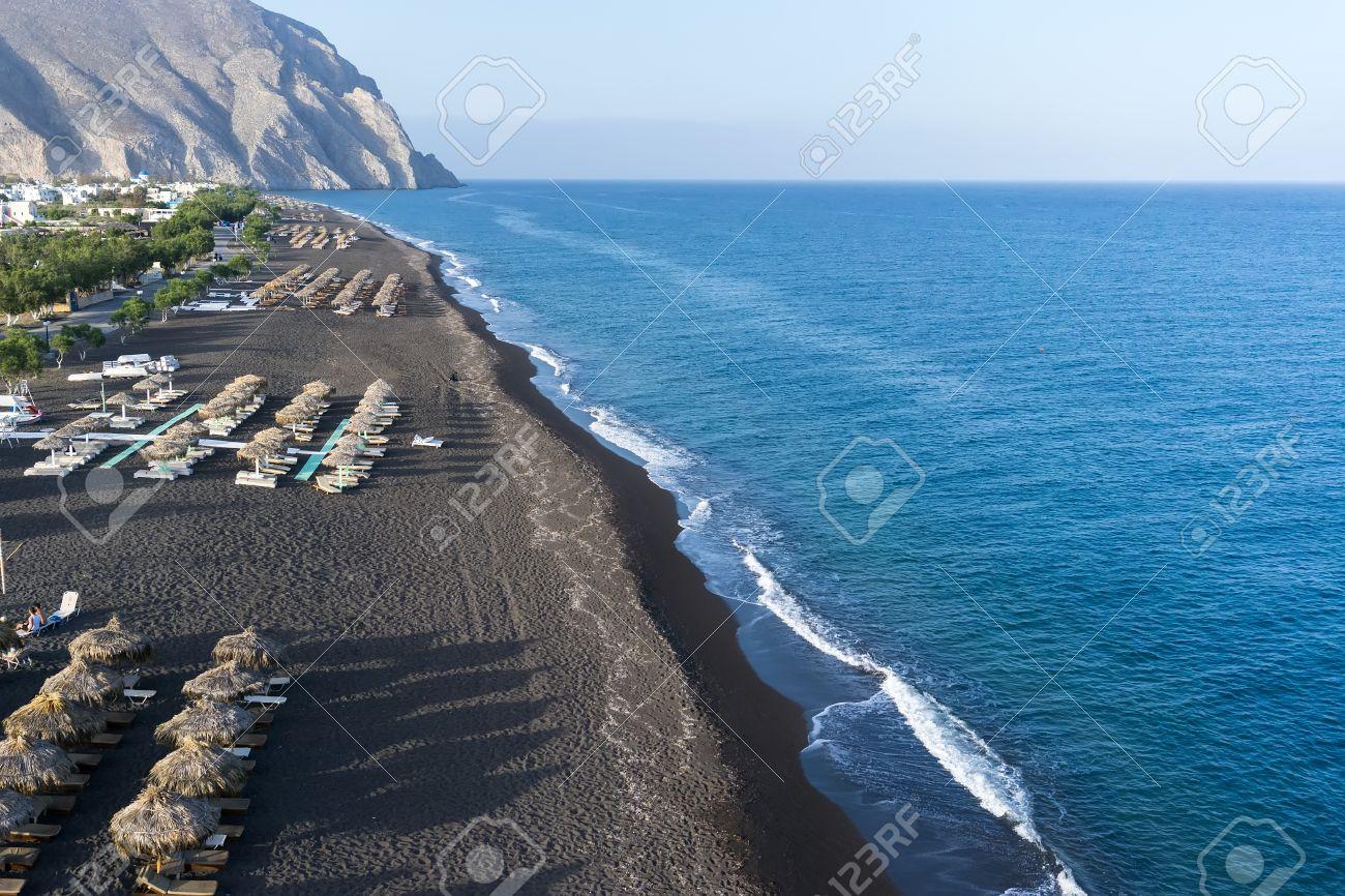 Santorini Greece May 152015 Top View Of Perissa Beach On The